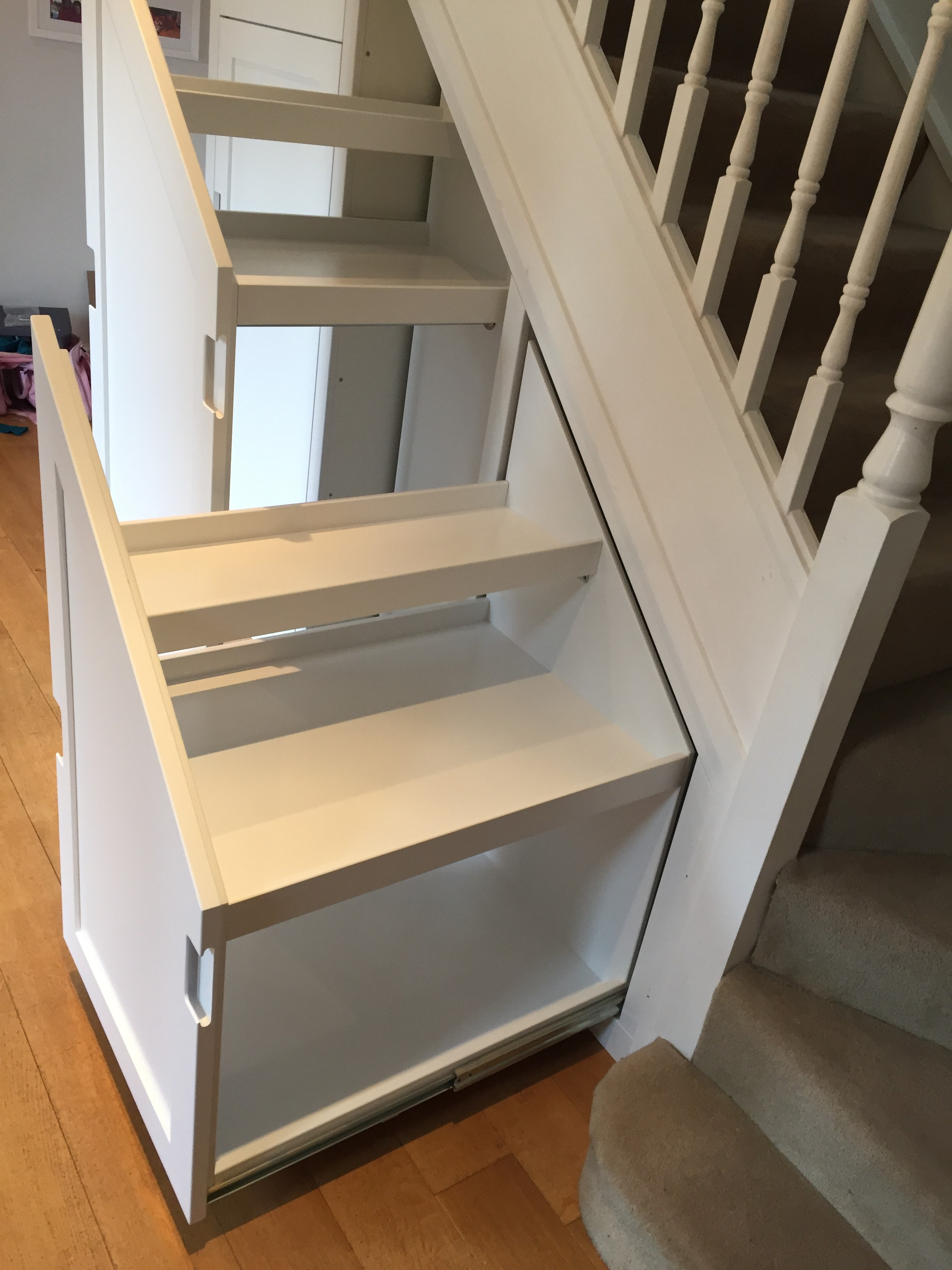 Bespoke Under Stairs Shelving: Concept-Carpentry Cambridge